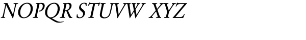 URW Garamond Extra Narrow Regular Oblique Font UPPERCASE